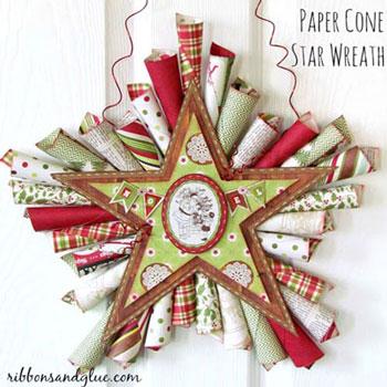 Papír ajtódísz karácsonyi csomagoló papírból