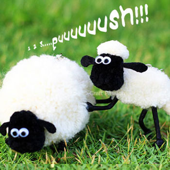 Pompom sheep - Shaun the sheep