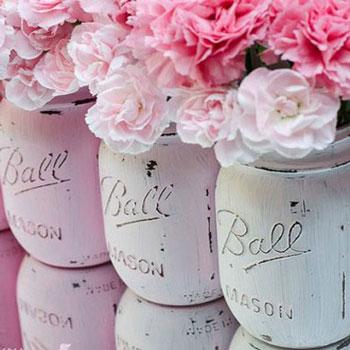 Shabby chic / vintage stílusú koptatott vázák befőttes üvegekből