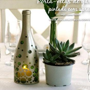 Mécsestartó / mécsesvédő borosüvegekből