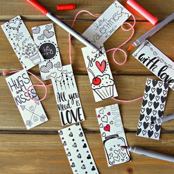 Színezhető Valentin napi könyvjelzők (ingyenes nyomtatható sablon)