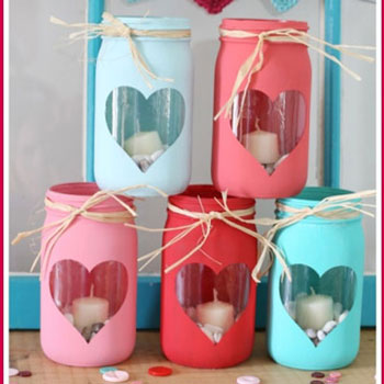 Egyszerű szív mintás befőttesüveg lámpás (Valentin napi dekoráció)