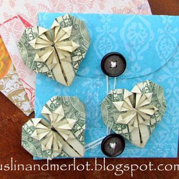 Pénz szívecske - kreatív ajándék papírhajtogatással