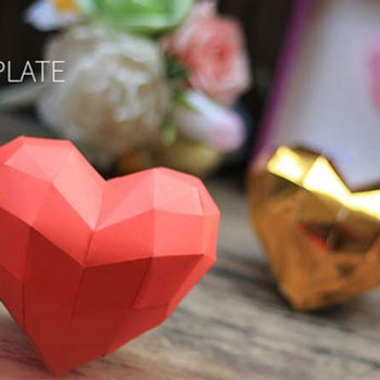 DI)Y 3D paper heart (free printable template)