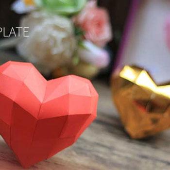 3D Szívecske papírból (ingyenes nyomtatható sablonnal)