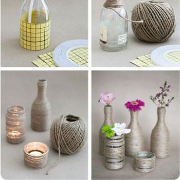 Fonallal körbetekert üveg palack dekoráció - kreatív újrahasznosítás
