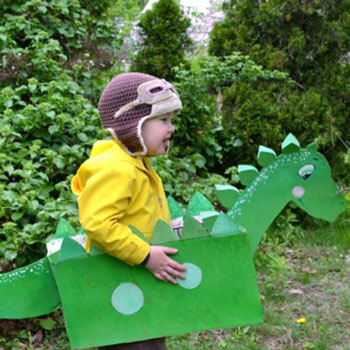 Easy DIY cardboard box dinosaur costume for kids