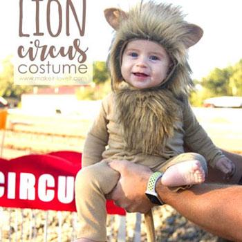 Oroszlán jelmez gyerekeknek járóka cirkuszi sátorral (varrási útmutató)