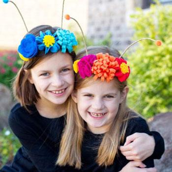Virágos pillangó antenna filcből ( lepke jelmezhez ) gyerekeknek