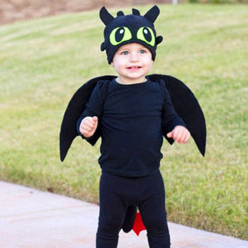 Toothless (dragon) costume for kids - sewing tutorial
