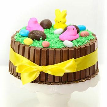 Húsvéti Kit-kat torta kókuszreszelék fűvel egyszerűen