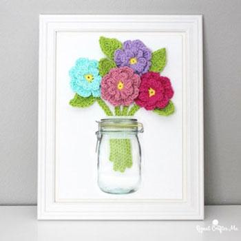 Térbeli horgolt virágok befőttesüvegben (falikép) - kreatív ajándék