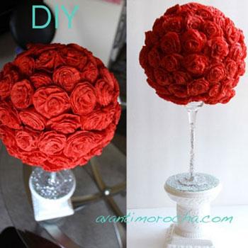 Egyszerű papír rózsa gömb fa - kreatív ajándék ötlet
