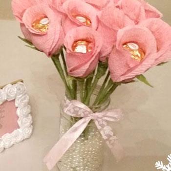 Bonbon virág csokor egyszerűen krepp papírból ( Ferrero Rocher rózsa )