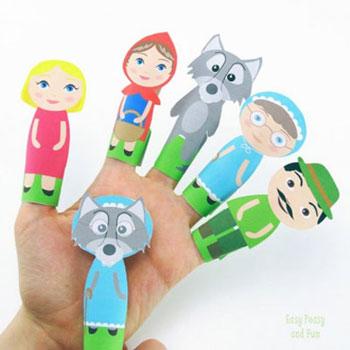 Nyomtatható Piroska és a farkas ujjbábok - egyszerű kreatív ötlet gyerekeknek