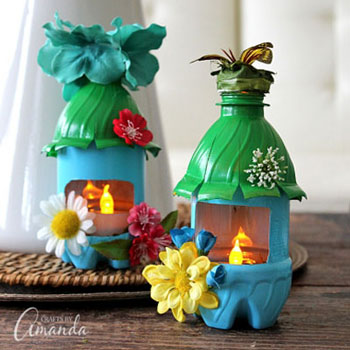 Tavasz tündér házikó lámpás műanyag palackból - újrahasznosítás