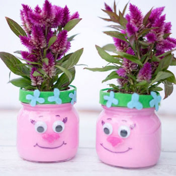 DIY Troll mason jar planter - Trolls craft