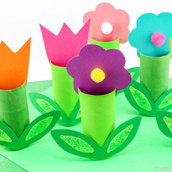 Toilet paper roll flowers - easy tp roll spring craft for kids