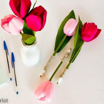 Tulipán toll házilag egyszerűen - kreatív ajándék ötlet