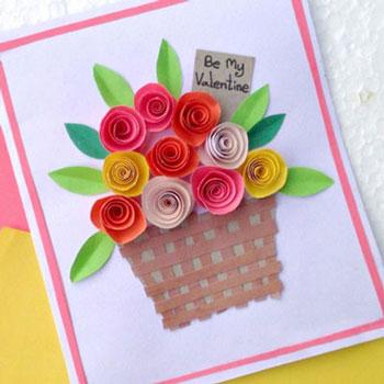 Egyszerű Anyák napi képeslap térbeli papír virágokkal
