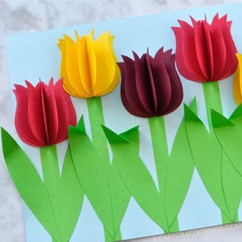 Gyönyörű térbeli tulipános képeslap házilag - egyszerű kreatív ötlet gyerekeknek