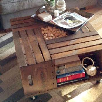 Praktikus dohányzóasztal fa ládákból házilag - barkácsolás