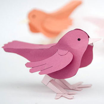 Easy DIY dimensional paper bird - spring decoration (free printable)