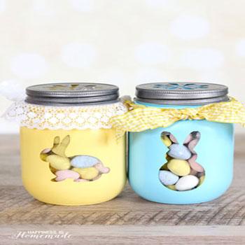 Nyuszis cukorkatartók befőttes üvegekből