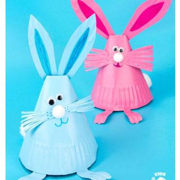 Papír tányér kúp nyuszik - egyszerű húsvéti kreatív ötlet gyerekeknek