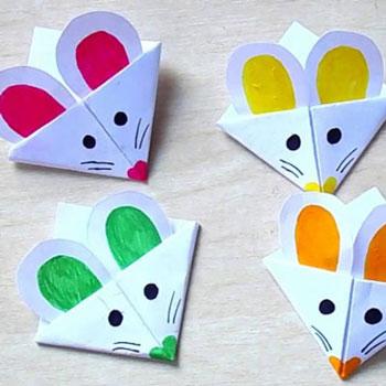 Egyszerű egér sarok könyvjelző - kreatív ötlet gyerekeknek papírból