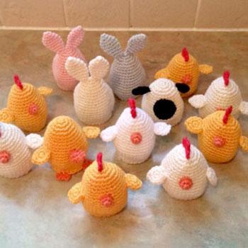 Horgolt húsvéti tojás huzatok ( nyuszi és csibe ) - ingyenes amigurumi minta