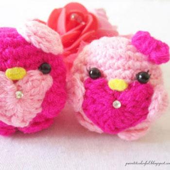 Horgolt szívecskés mini szerelem madarak - ingyenes amigurumi minta