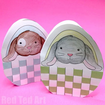 DIY Adorable Easter bunny card with woven basket - free printable
