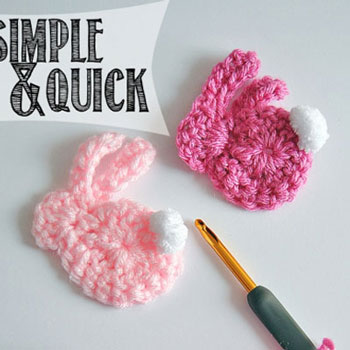 Easy & quick crochet bunny applique - free crochet pattern