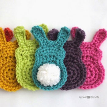 Easy crochet bunny with popom tail - free crochet pattern