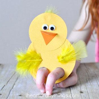 Papír csibe ujjbáb - egyszerű húsvéti ötlet gyerekeknek papírból