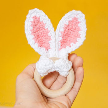 Crochet bunny ears baby teether with wooden ring - free crochet pattern
