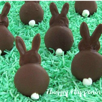 DIY Chocolate covered wafer cookie bunny - Easter party snack