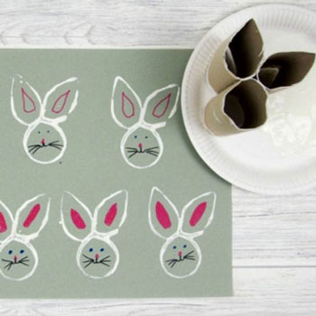 Easy DIY Easter bunny face toilet paper roll stamp