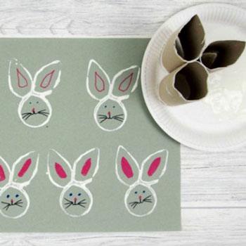 Egyszerű húsvéti nyuszi nyomda wc papír gurigából gyerekeknek
