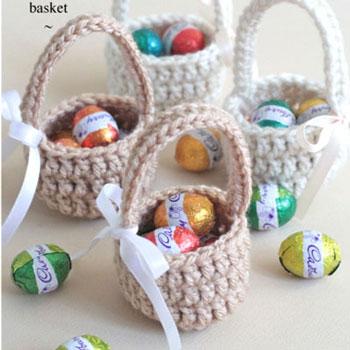 Egyszerű horgolt húsvéti kosárkák - ingyenes horgolásminta