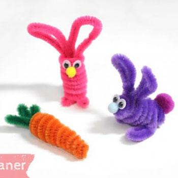 Zsenília drót (pipatisztító) nyuszi és répa - kreatív húsvéti ötlet gyerekeknek