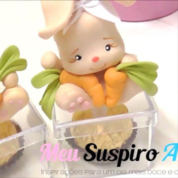 Nyuszi figura süti dobozon - gyurmázás lépésről lépésre
