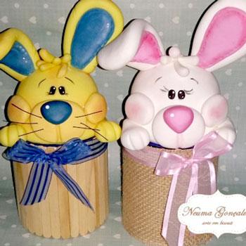 Nyuszis húsvéti ajándékdoboz konzervdobozból levegőre keményedő gyurmával