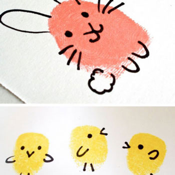 Egyszerű húsvéti képeslap ujjlenyomatokból (nyuszi és csibe)