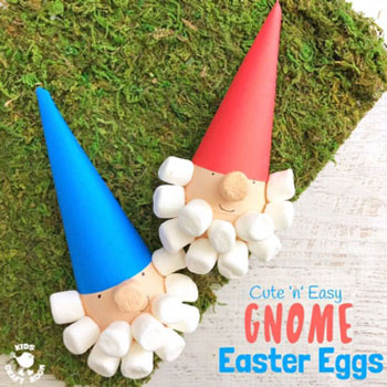 DIY Gnome Easter eggs - fun Easter egg painting idea for kids