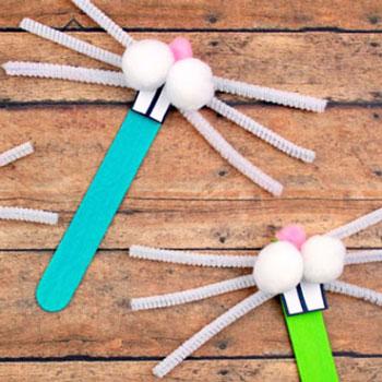 Vicces nyuszi maszk gyerekeknek jégkrém pálcikából (spatulából)