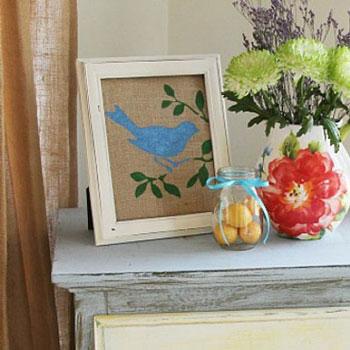 Egyszerű madaras tavaszi kép zsákvászonnal