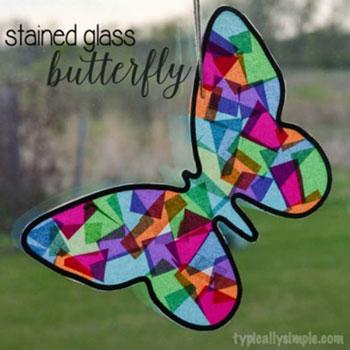 Papír pillangó ablakdísz - lepke dísz színes papírból egyszerűen