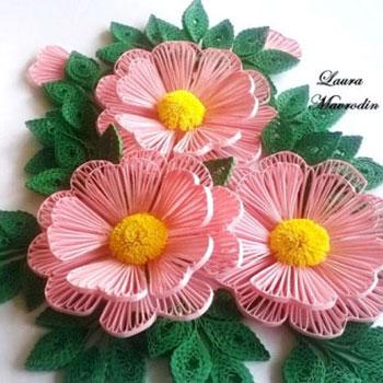 Virágok quilling (papírcsík) technikával - szirmok és levelek
